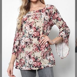 Taupe & Mauve Floral Bell-Sleeve Tunic